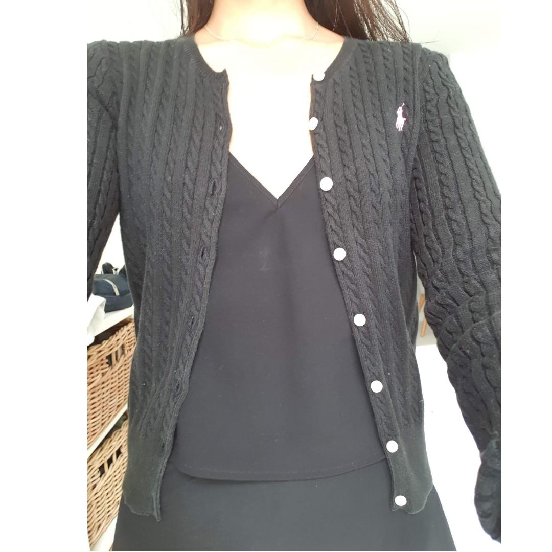 Ralph Lauren Cable Cotton Cardigan Black Size XL (16) kids/ AU8 Women's