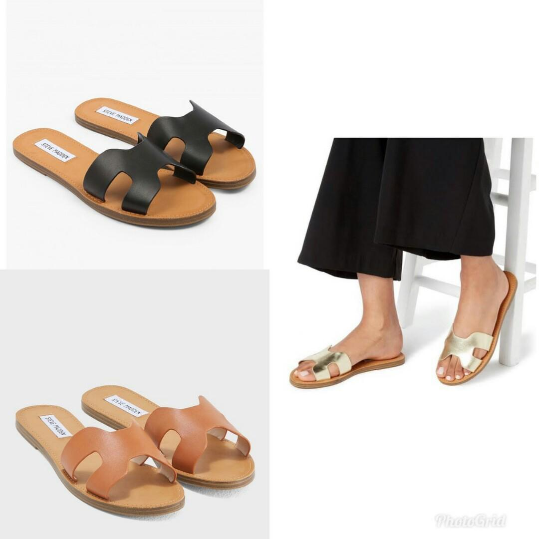 READY  Steve Madden H Sandal  • Brown • Black • Gold  Size 5.5 6 6.5 7 7.5 8 8.5 9 10  Complete Box