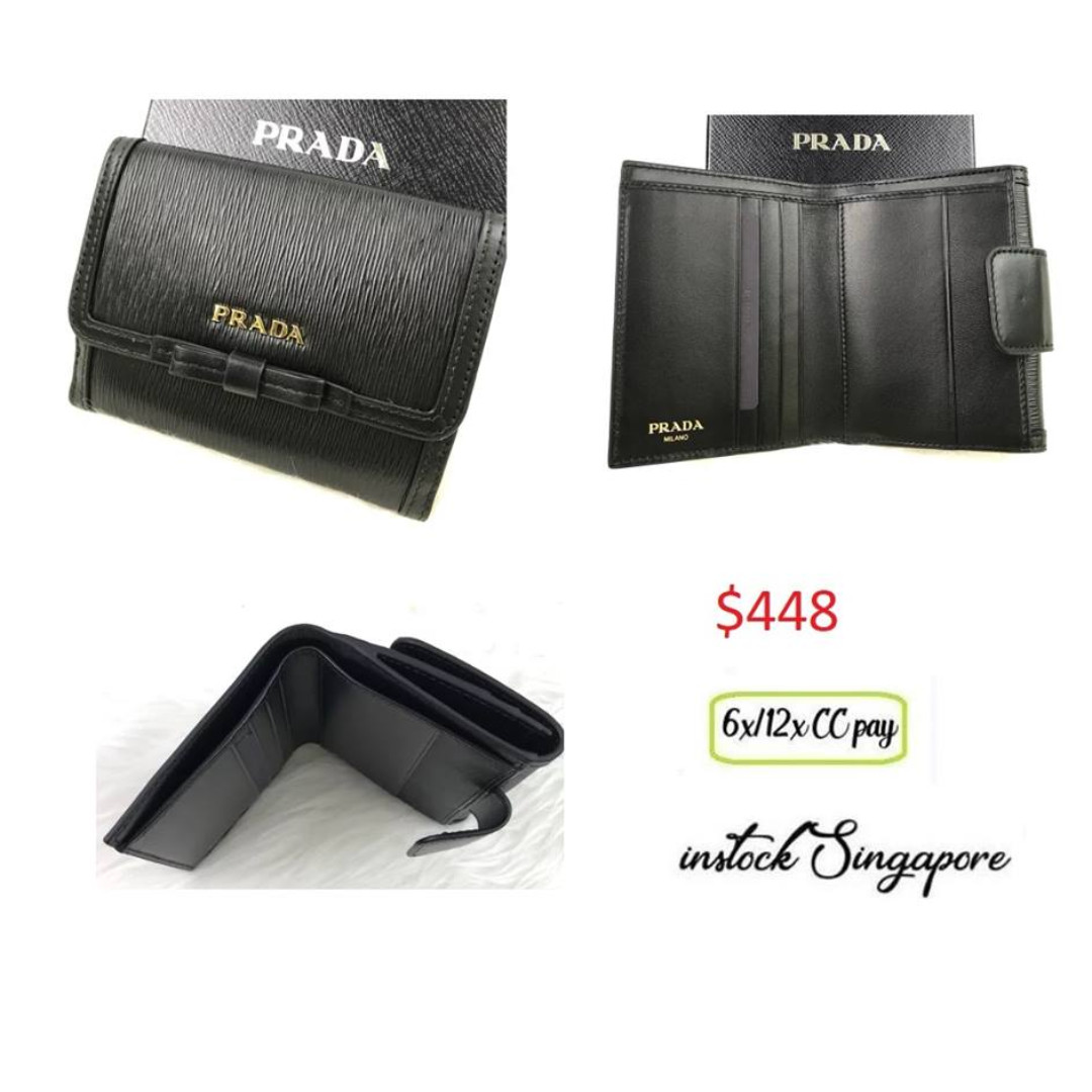 2d185d672430 READY STOCK authentic new Prada VITELLO MOVE 1mh523 black nero fold ...