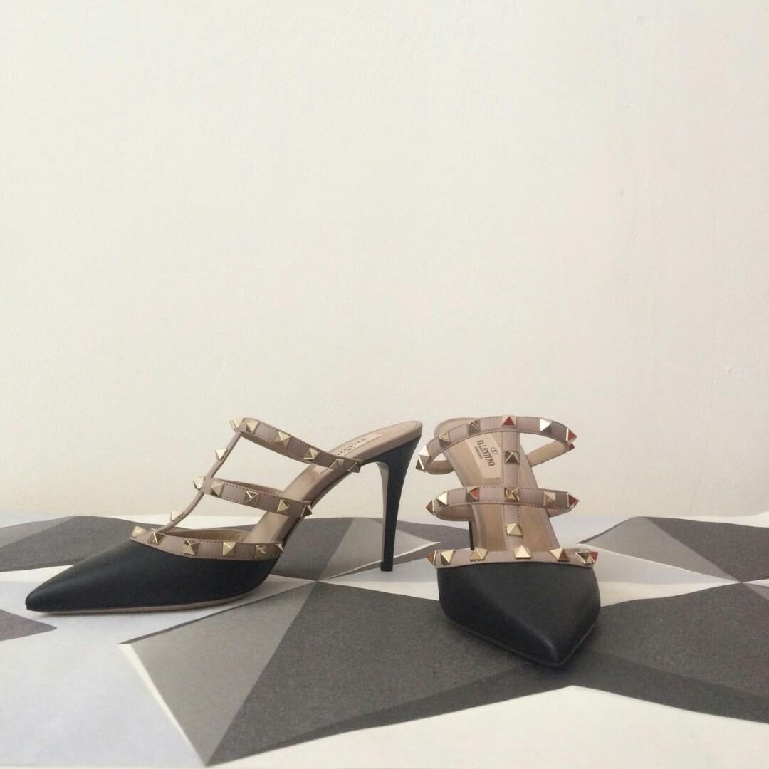 READY Valentino Mules Sandal 90mm • Black Calf size 38 38.5 39 Complete Box