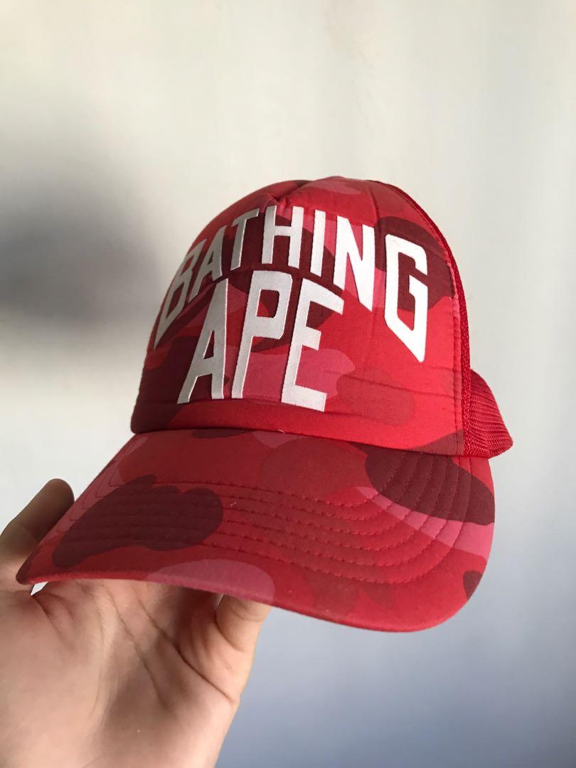 a0d971be Red Bape Camo Trucker Cap, Men's Fashion, Accessories, Caps & Hats ...