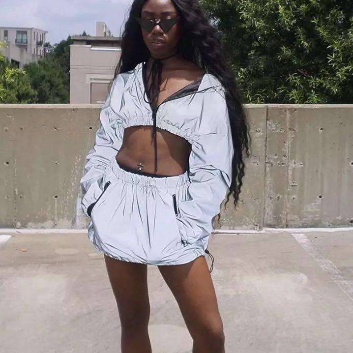 Reflective Hoodie and Skirt Set