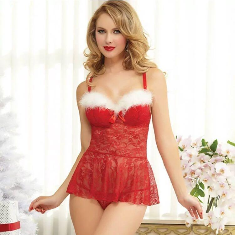 Sexy Women Red Lingerie Set Babydoll Lace Sleepwear Underwear G-string Christmas