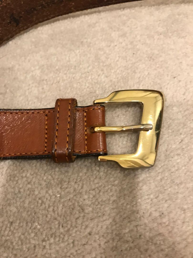 Sportscraft genuine leather brown belt gold buckle