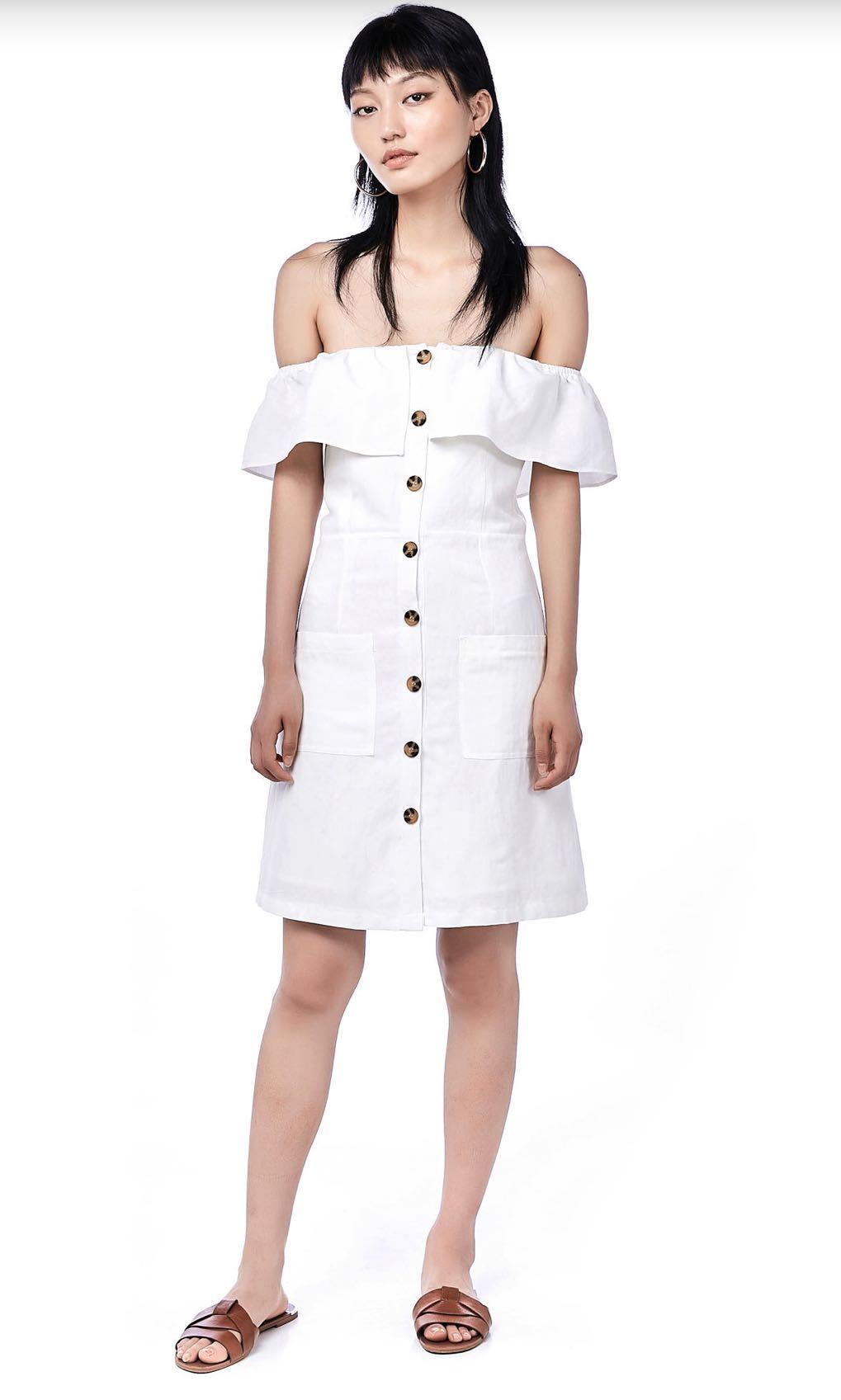 5481f66897 tem editors market lorita white button off shoulder linen dress ...