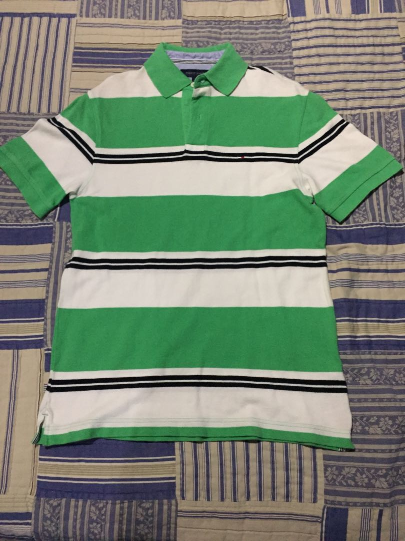 312d1591 Tommy Hilfiger | Green/White/Black Striped Polo T-Shirt, Men's ...