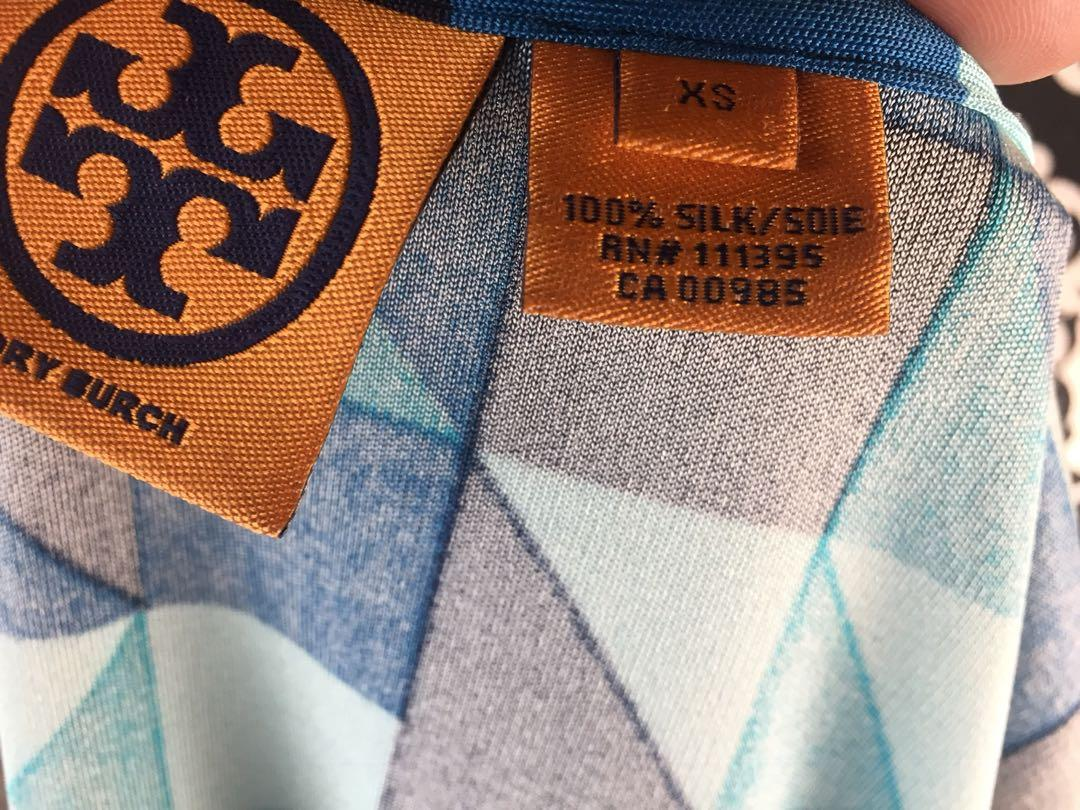 Tory Burch Blue Geometric Patterns 100% Silk Dress Long Sleeves Women's Size XS