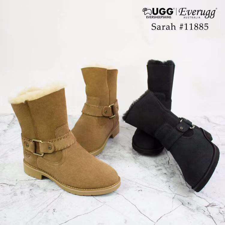 UGG Ladies Fashion Boots Sarah - Sheepskin lining and Insole, Suede Upper, Short Stylish