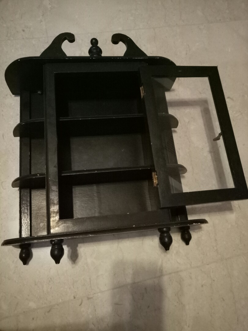 (reserved) Vintage hanging wall small display cabinet