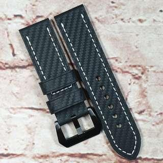 Sale : Premium Water Resistant Carbon Fiber 20mm Watch Strap Black Color White Stitch (1041BKCFW20) (available in 20, 22 and 24mm)