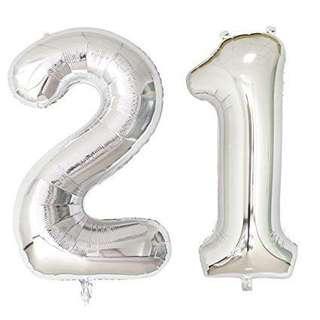 """🚚 32"""" foil balloon '21' in silver"""