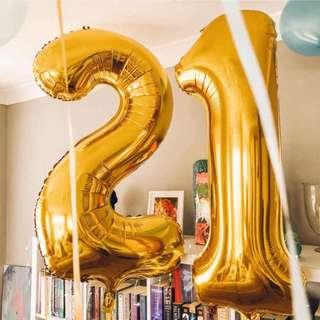 """🚚 32"""" foil balloon '21' in gold"""