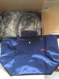 100% New Longchamp le pliage tote bag L navy 手提袋 藍
