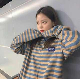 🚚 韓系餅乾色條紋長袖上衣💙💛