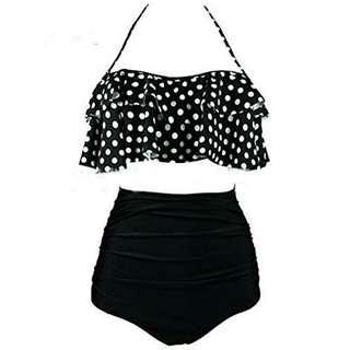 High Waisted Black & White Bikini