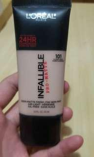 L'Oreal Infallible Pro Matte Foundation(101色Classic Ivory)30ml