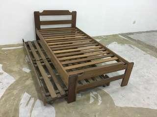 Pull-out single bed frame