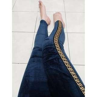 Legging fendi bludru murah