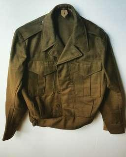 Green uniform style wool blend jacket - unisex - 2 available