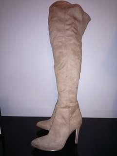 Over the knee beige high heel boots
