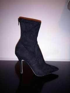 Black sock boot high heel booties