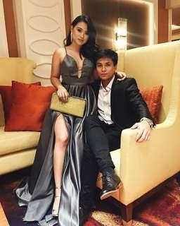 Metallic Gray Gown for Rent