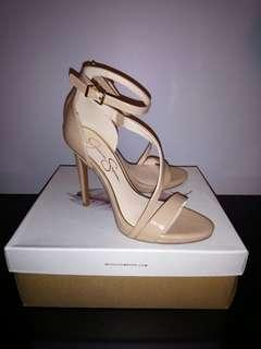 Straply nude patent high heels