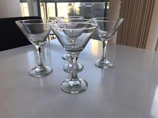 Set of 5 Martini Glasses