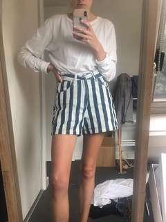 Vintage inspired striped denim shorts