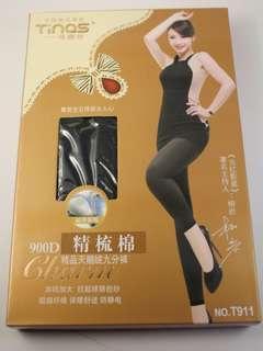 🚚 全新現貨 900D 精梳棉 黑色褲襪 天鵝絨 九分褲 防靜電 發熱
