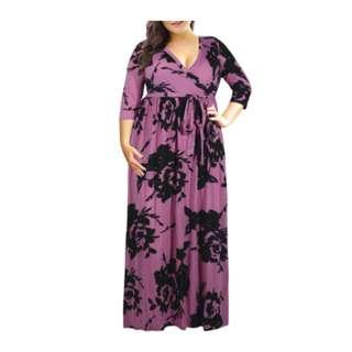 🚚 [PO] Plus Size Flowery Long Dress
