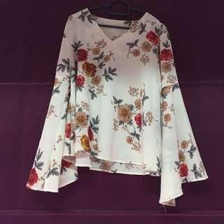 Chiffon Blouse Top Flare Sleeve