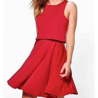 [REDUCED] BOOHOO Double Layer Skater Dress WINE UK8 BNWT