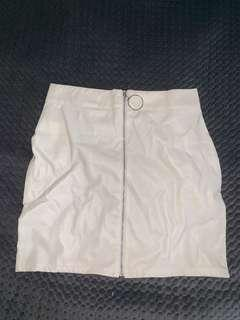 white leather skirt with zip