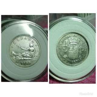 Espana 2 pesetas old coins