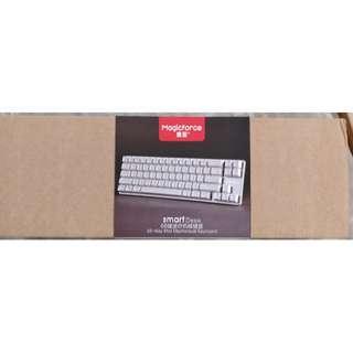 MWTS - MagicForce Mechanical Keyboard 68 Key Silver Case White KeyCaps Brown Switch
