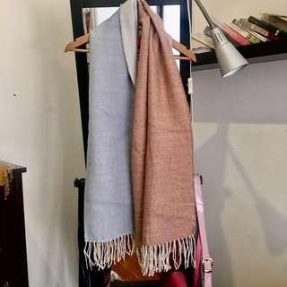 Blue and Pink/Blush Block Print Blanket Scarf with Tassles