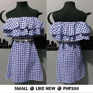 Checkered Blue And White Cold Off Shoulder Dress
