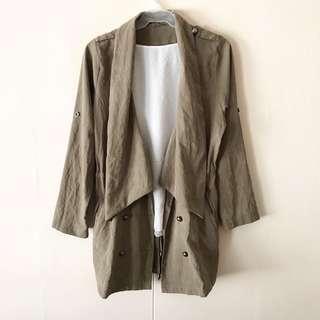 Olive Green Drawstring Parka / Jacket