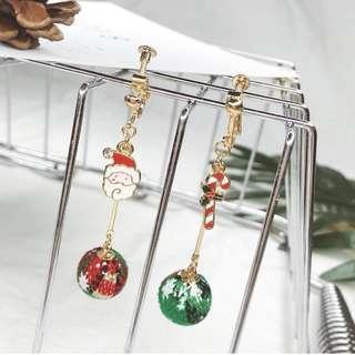 Christmas ball clip on earrings