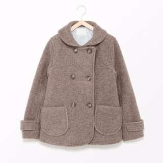 日牌ehka sopa 少女感厚呢短大衣 wool blend pea coat
