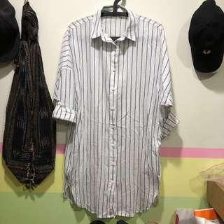 🚚 NET Ladies 長版條紋襯衫/文青風 尺寸(6)160/80A