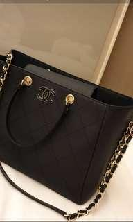 Chanel Large Shopping Bag Navy Blue