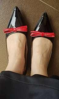 PRADA black ribbon flat shoes