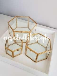 🚚 Gold geometric terrarium/ring boxes