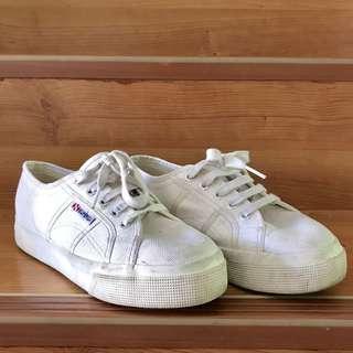Superga platform white sneakers