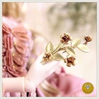 50 年代美國品牌krementz玫瑰花包14K胸針