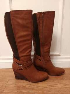 Spring Brown Wedge Boots Tall Size 10