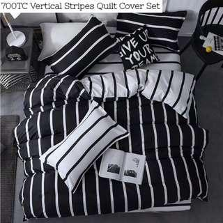 Black and White Vertical Striped Fitted Bedsheet Quilt Cover Set
