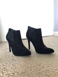 Black Pointed-Toe Ankle Booties